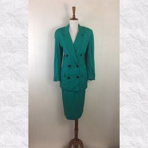 Vintage Christian Dior Double Breasted Skirt Suit